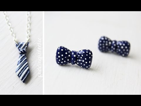 Tuto Fimo : Collier Cravate et Boucles d'oreille Noeud