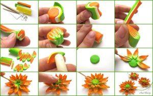 Tuto Fimo Fleur Orange
