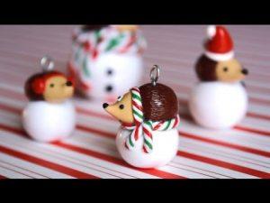 Tuto Fimo Noël Hérisson sur une boule de neige